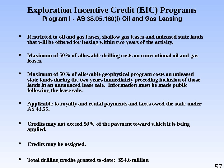 57 Exploration Incentive Credit (EIC) Programs Program. IAS 38. 05. 180(i)Oiland. Gas. Leasing Restricted to oil