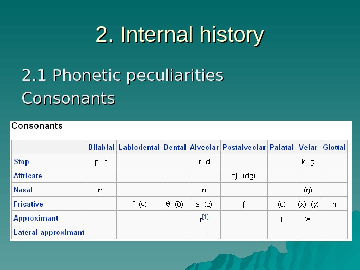 2. Internal history 2. 1 Phonetic peculiarities Consonants