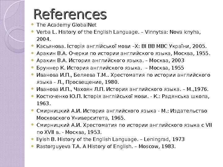 References The Academy Global. Net Verba L. History of the English Language. – Vinnytsa: Nova knyha,