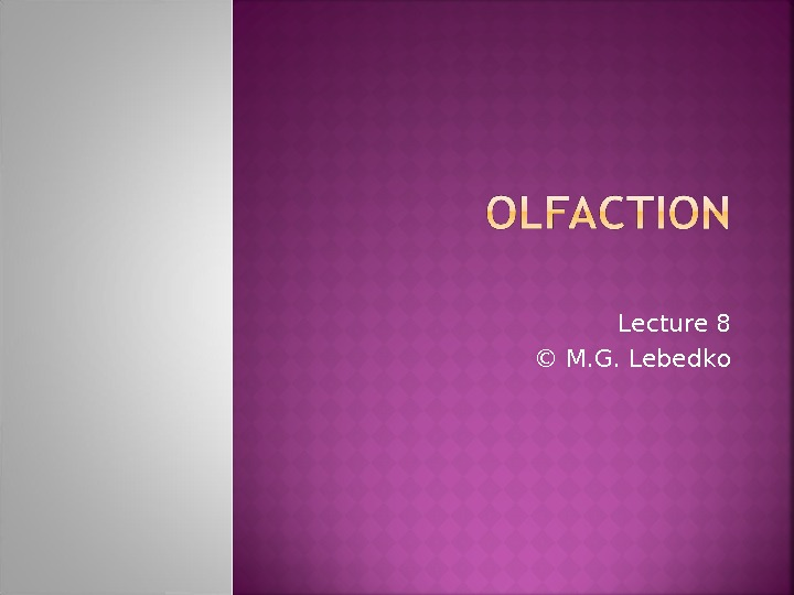 Lecture 8 © М. G. Lebedko