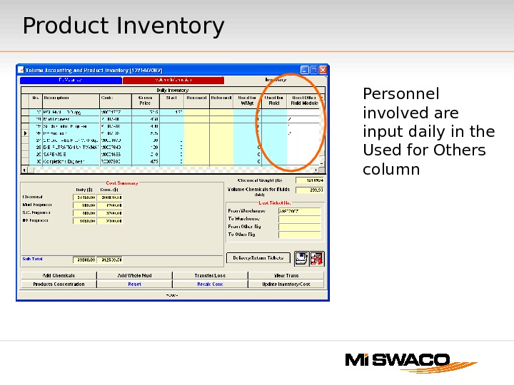 Personnel involved are input daily in the Used for Others column. Product Inventory