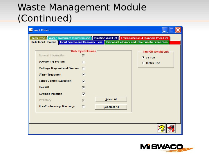 Waste Management Module (Continued)