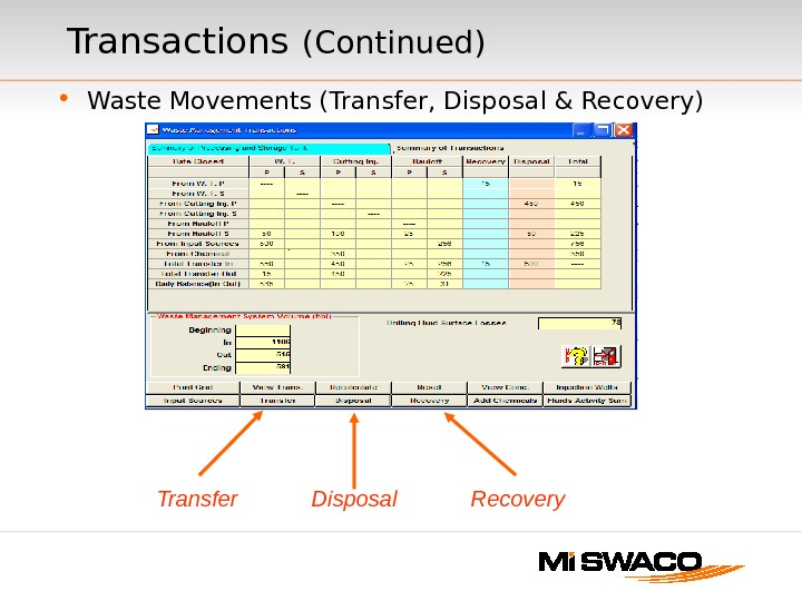 • Waste Movements (Transfer, Disposal & Recovery)Transactions  (Continued) Transfer Disposal Recovery