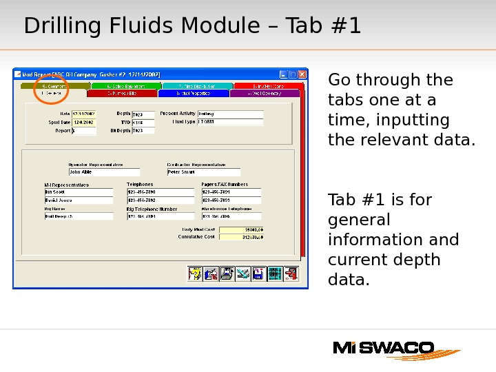 Go through the tabs one at a time, inputting the relevant data. Tab #1 is for
