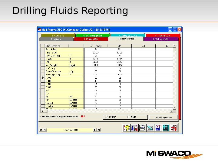 Drilling Fluids Reporting