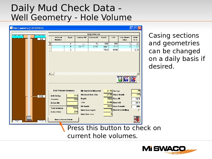 Daily Mud Check Data - Well Geometry - Hole Volume Casing sections and geometries can be