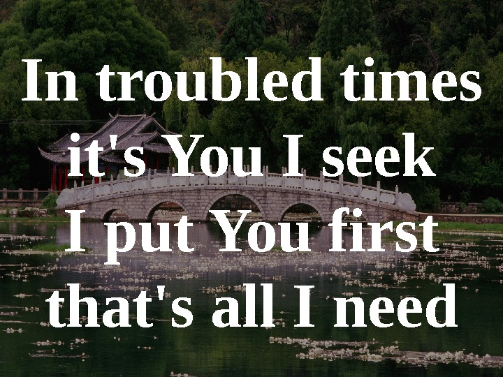 In troubled times it's You I seek I put You first that's all I