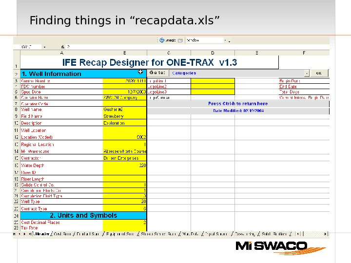 "Finding things in ""recapdata. xls"""