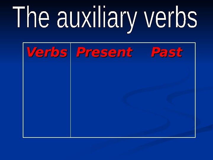 Verbs Present Past
