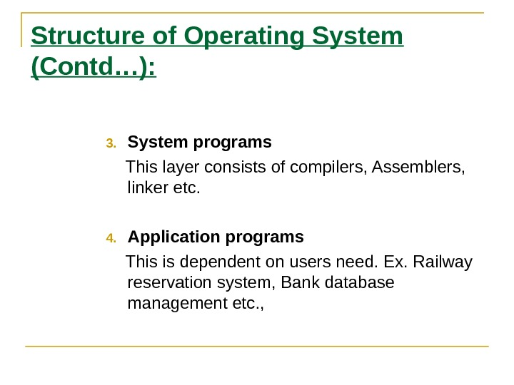 Structure of Operating System (Contd…): 3. System programs This layer consists of compilers, Assemblers,