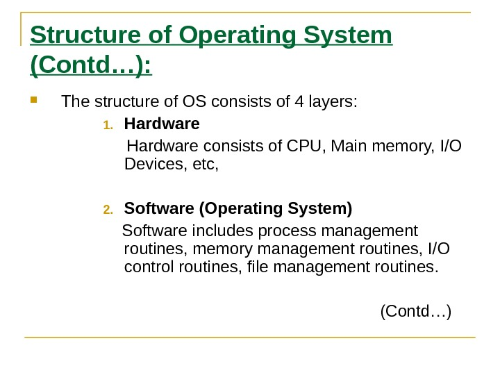 Structure of Operating System (Contd…):  The structure of OS consists of 4 layers: