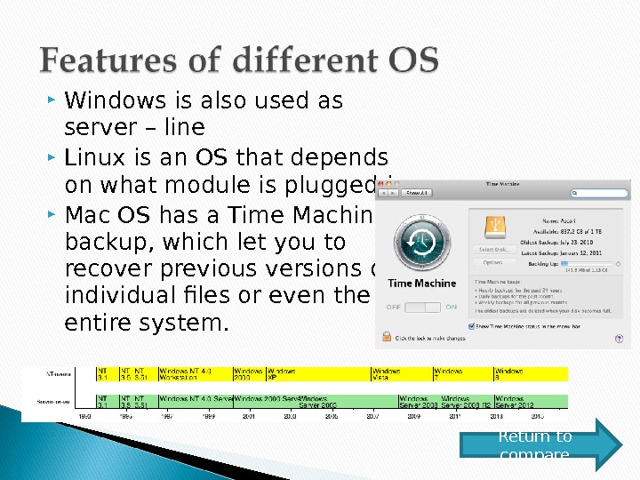 Windows is also used as server – line Linux is an OS that depends on