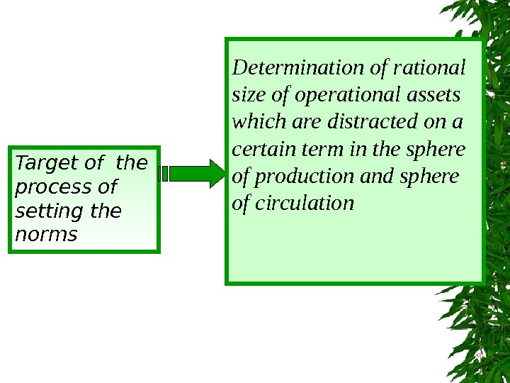 Target of the process of setting the norms Determination of rational size of operational