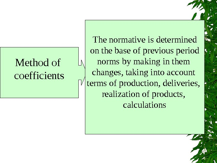 Method of coefficients  The normative is determined  on the base of previous