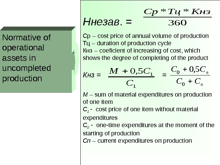 Normative of operational assets in uncompleted production Ннезав. =  Ср – cost price