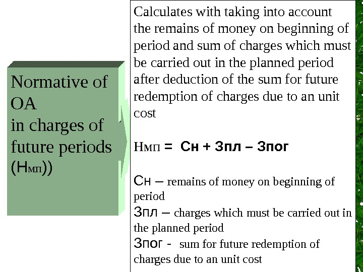 Normative of OA  in charges of future periods (Н мп )) Calculates with