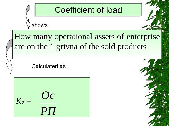 Coefficient of load shows How many operational assets of enterprise are on the 1