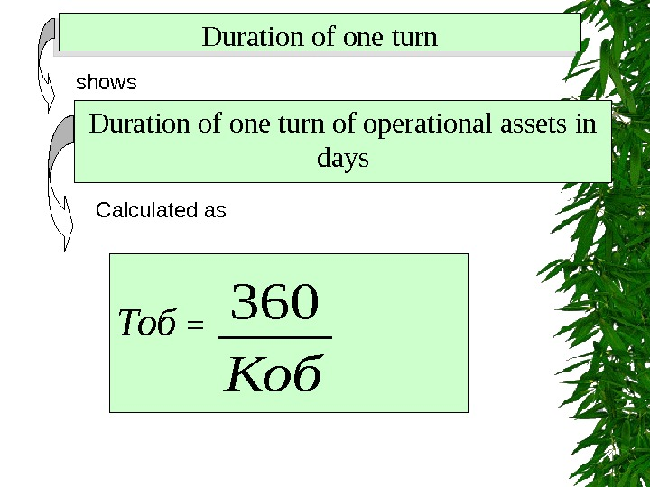 Duration of one turn shows Duration of one turn of operational assets in days