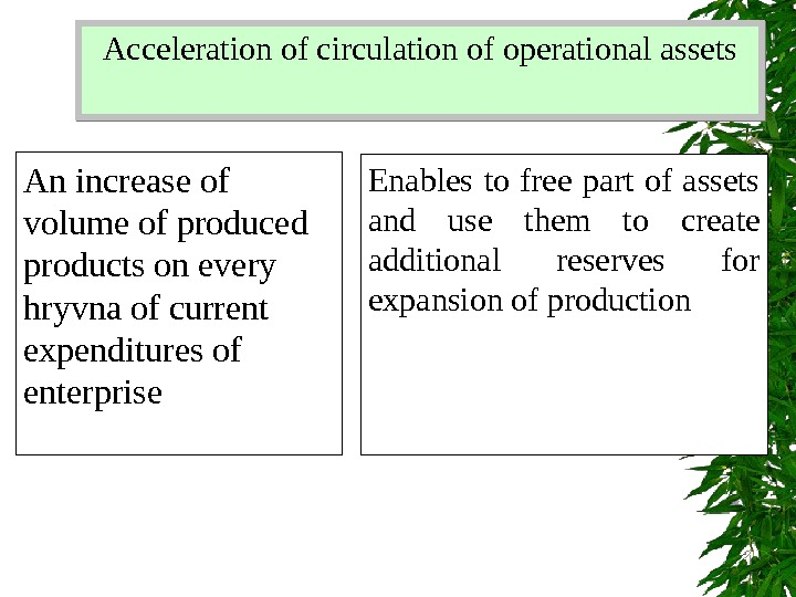 Acceleration of circulation of operational assets An increase of volume of produced products on