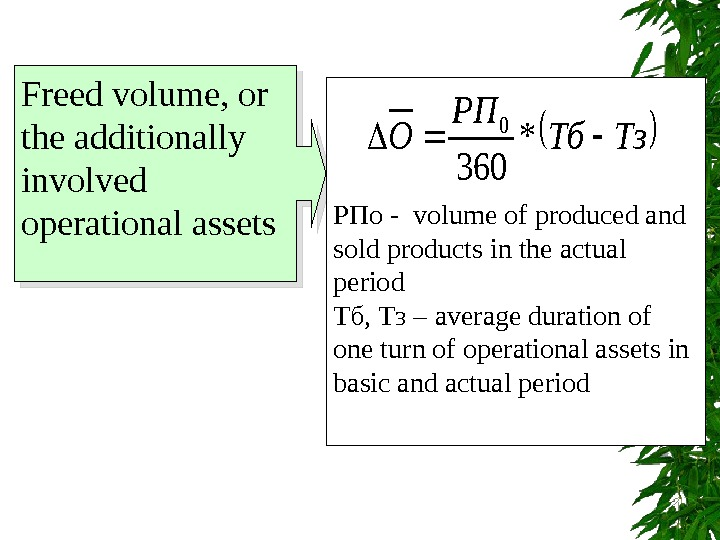 Freed volume, or the additionally involved operational assets РПо -  volume of produced