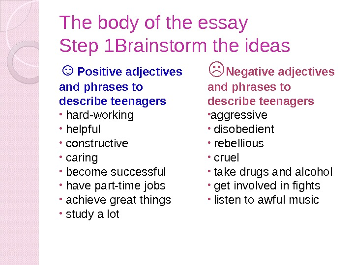 The body of the essay Step 1 Brainstorm the ideas ☺ Positive adjectives and phrases to
