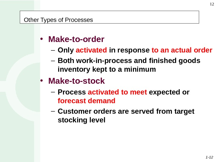 1 - 12 12 Other Types of Processes • Make-to-order – Only activated in response to