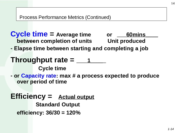 1 - 14 14 Process Performance Metrics (Continued) Cycle time = Average time   or