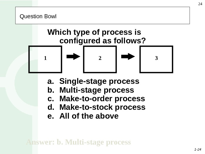 1 - 24 24   Question Bowl Which type of process is configured as follows?