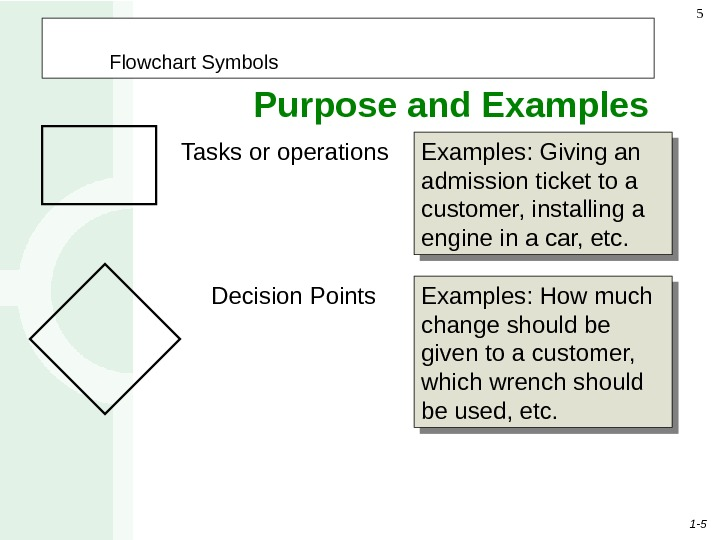 1 - 55 Tasks or operations Examples: Giving an admission ticket to a customer, installing a