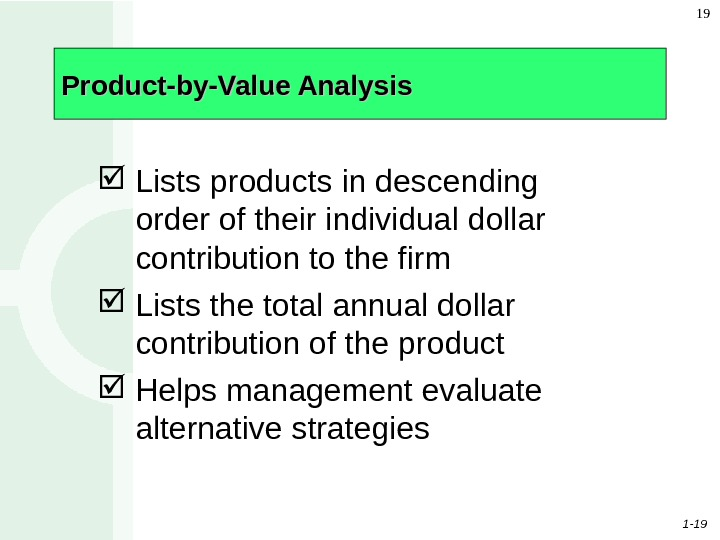 1 - 19 19 Product-by-Value Analysis Lists products in descending order of their individual dollar contribution