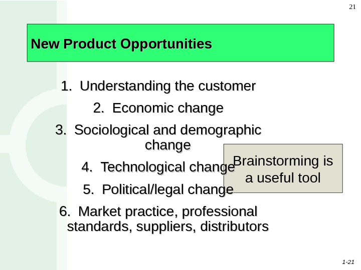 1 - 21 21 New Product Opportunities Brainstorming is a useful tool 1. 1. Understanding the