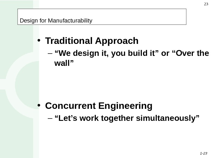 "1 - 23 23 Design for Manufacturability • Traditional Approach – "" We design it, you"