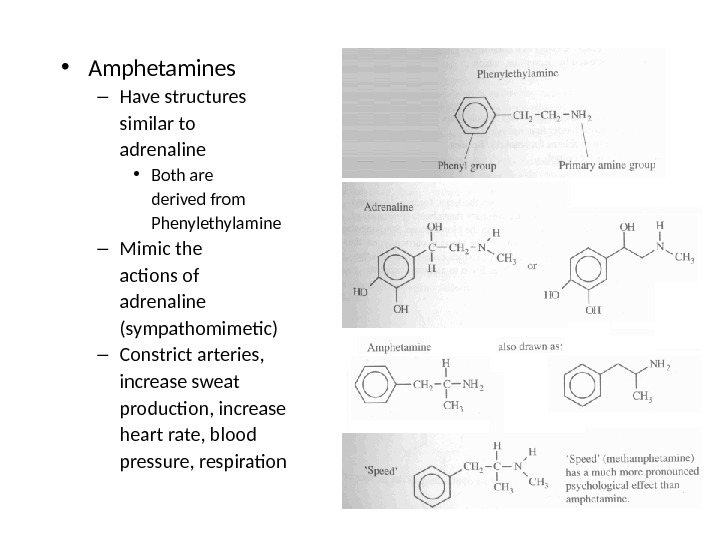 • Amphetamines – Have structures similar to adrenaline • Both are derived from Phenylethylamine –