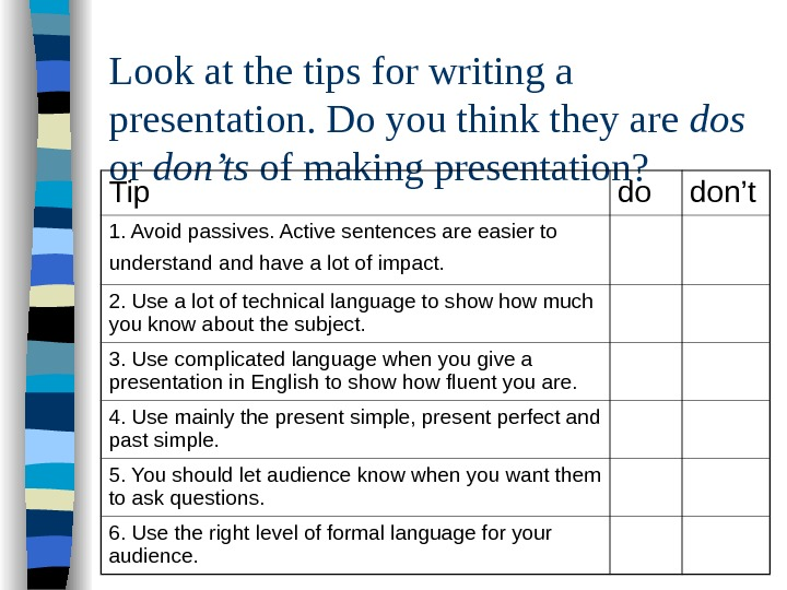 Look at the tips for writing a presentation. Do you think they are dos