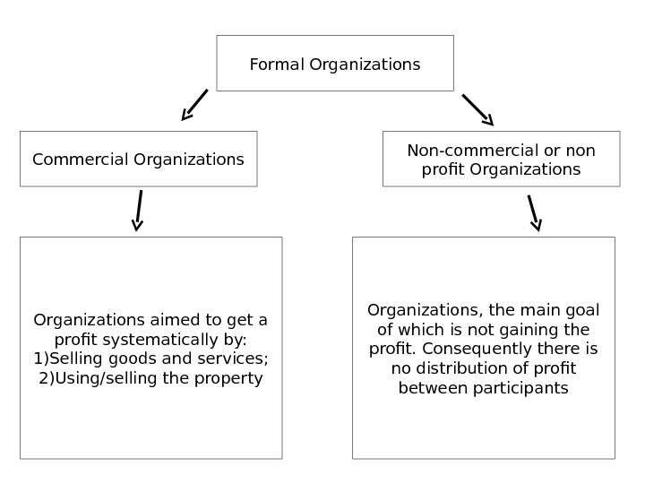 Formal Organizations Commercial Organizations Non-commercial or non profit Organizations aimed to get a profit systematically by: