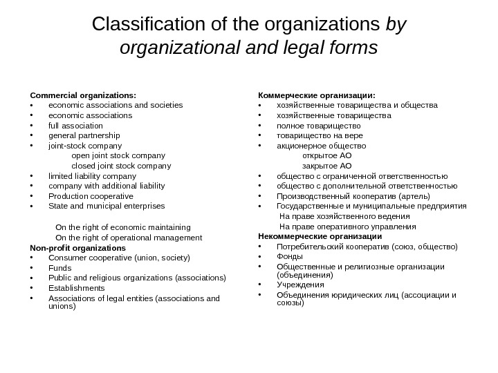 Classification of the organizations by organizational and legal forms Commercial organizations:  • economic associations and