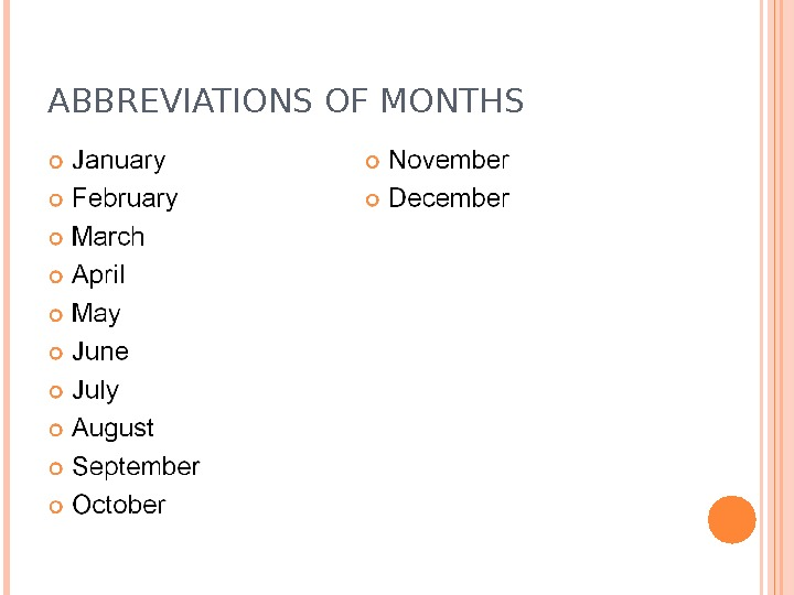 ABBREVIATIONS OF MONTHS
