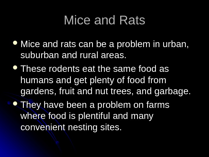 Mice and Rats Mice and rats can be a problem in urban,  suburban and rural