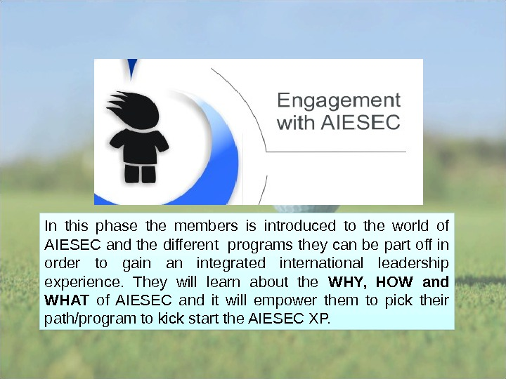 In this phase the members is introduced to the world of AIESEC and the different programs