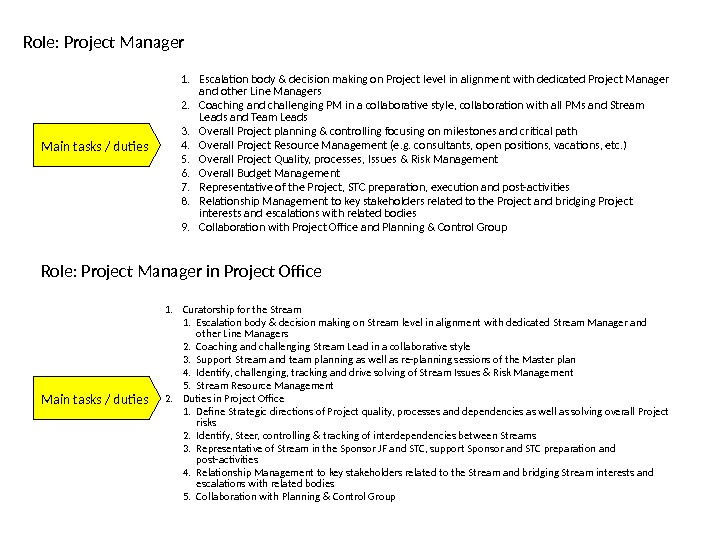Role: Project Manager Main tasks / duties 1. Escalation body & decision making on Project level