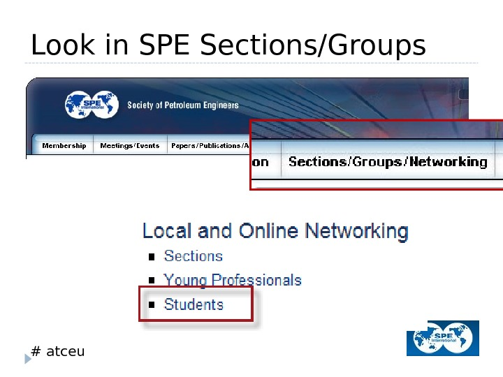 # atceu. Look in SPE Sections/Groups