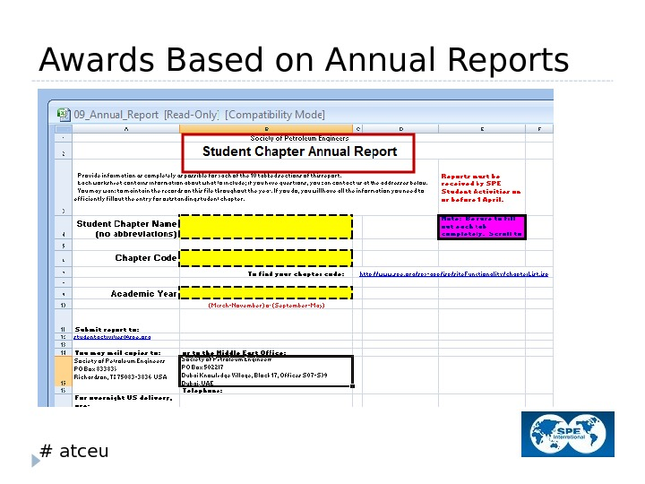 # atceu. Awards Based on Annual Reports