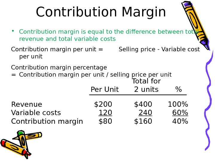 Contribution Margin • Contribution margin is equal to the difference between total revenue and total variable