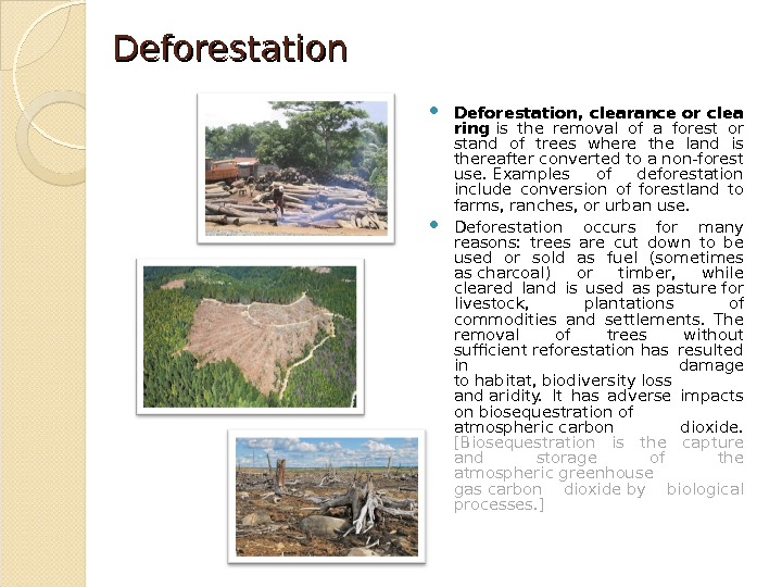 Deforestation, clearanceorclea ring is the removal of a forest or stand of trees where the land