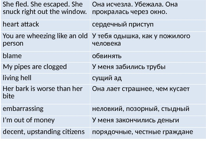 She fled. She escaped. She snuck right out the window. Она исчезла. Убежала. Она прокралась через