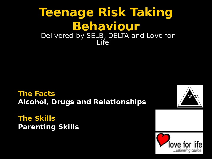Teenage Risk Taking Behaviour   Delivered by SELB, DELTA and Love for Life The Facts