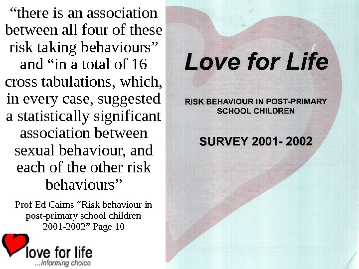 """ there is an association between all four of these risk taking behaviours"" and"