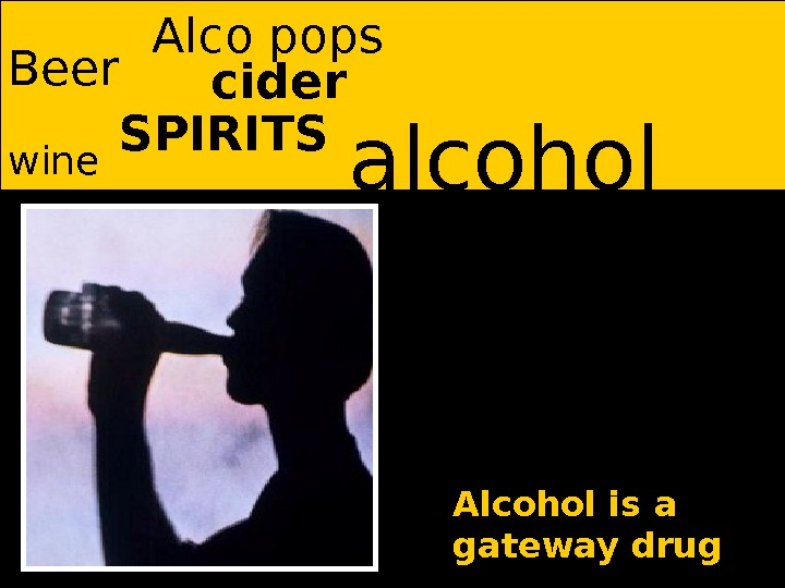 alcohol Beer SPIRITS wine Alco pops Alcohol is a gateway drugcider