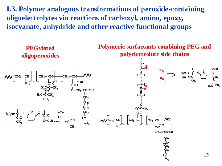 15 I. 3. Polymer analogous transformations of peroxide-containing oligoelectrolytes via reactions of carboxyl, amino, epoxy,