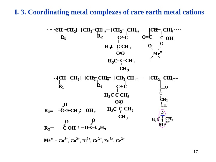 17 I. 3. Coordinating metal complexes of rare earth metal cations M e n +O O